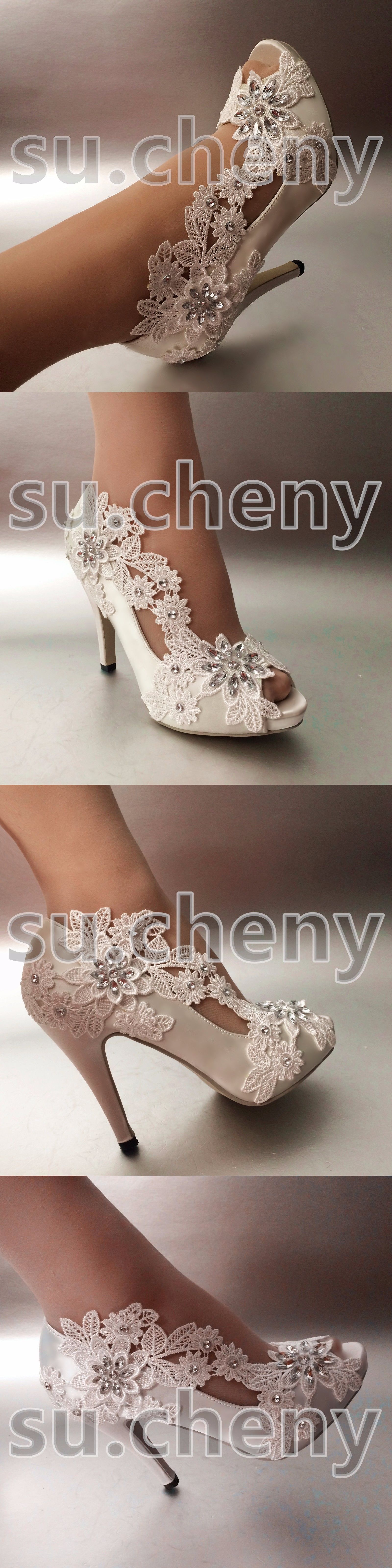Wedding Shoes And Bridal Shoes: 34 Heel Satin White Ivory Lace Pearls Open Toe Wedding Shoes Bride Size 5-9.5 BUY IT NOW ONLY: $49.99