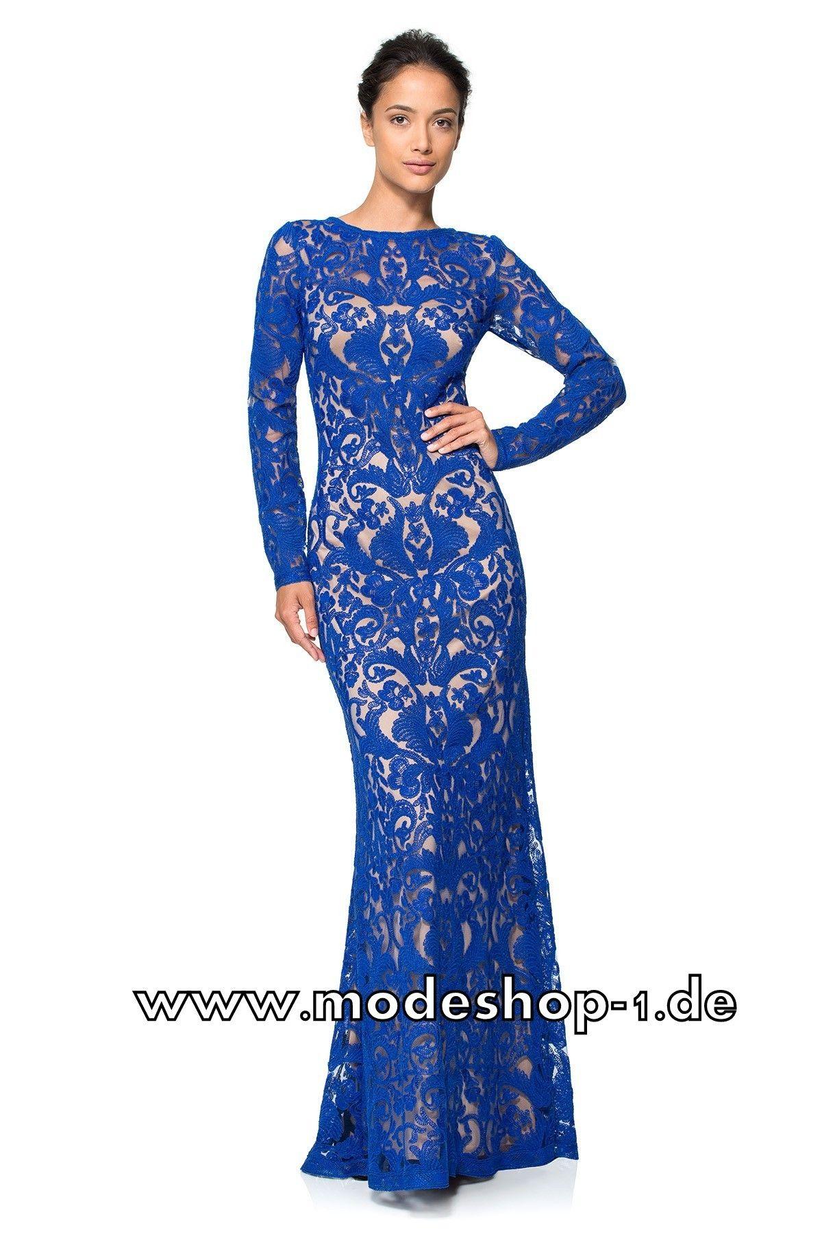 Festliches Langarm Etui Abendkleid in Blau   Abendkleid ...