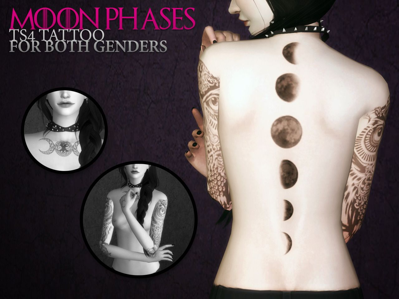 Sims 4 CC - Back tattoo both genders moon phases of the moon