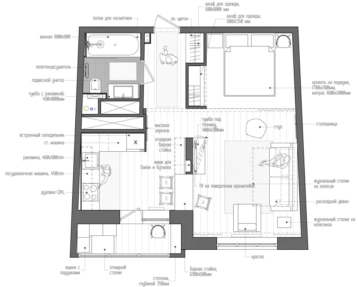 fun 45 square meter apartment with a crossword puzzle on the rh pinterest com mx