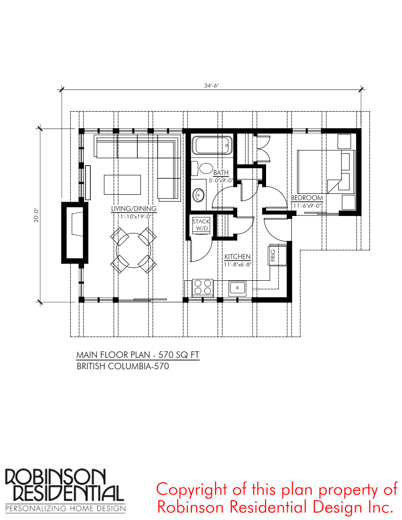 570 Sq Ft British Columbia Small Foundation Home Plans