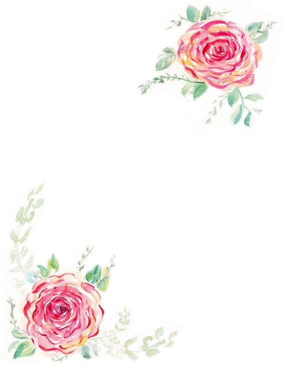 Downloadable Watercolor Rose Border Watercolor Rose Flower Art