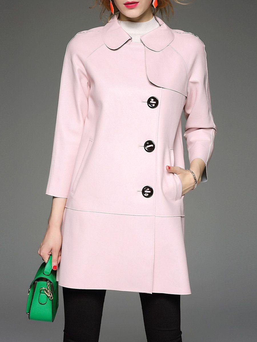 Adorewe qeexi pink plain long sleeve shirt collar pockets simple