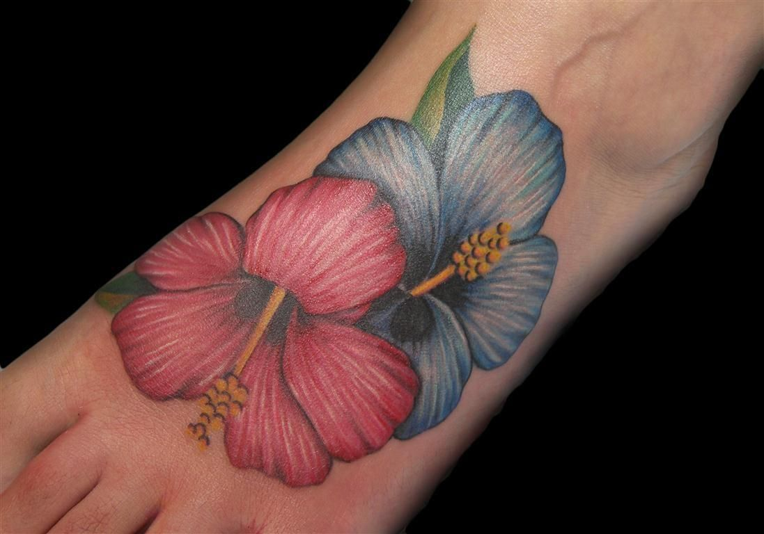 Red And Blue Hibiscus Tattoos On Left Foot Jpg 1097 768 Hibiscus Tattoo Hibiscus Flower Tattoos Hawaiian Flower Tattoos