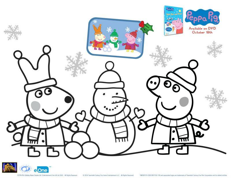 Peppa Pig Holiday Coloring Page 컬러링 시트 크리스마스 색칠하기