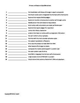 Viruses And Bacteria Quiz Worksheet For Biology Ii With Images