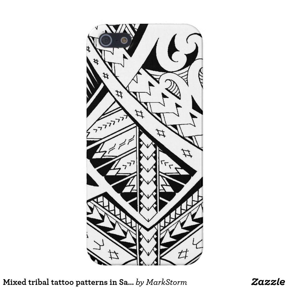 Mixed Tribal Tattoo Patterns In Samoan Maori Style Iphone