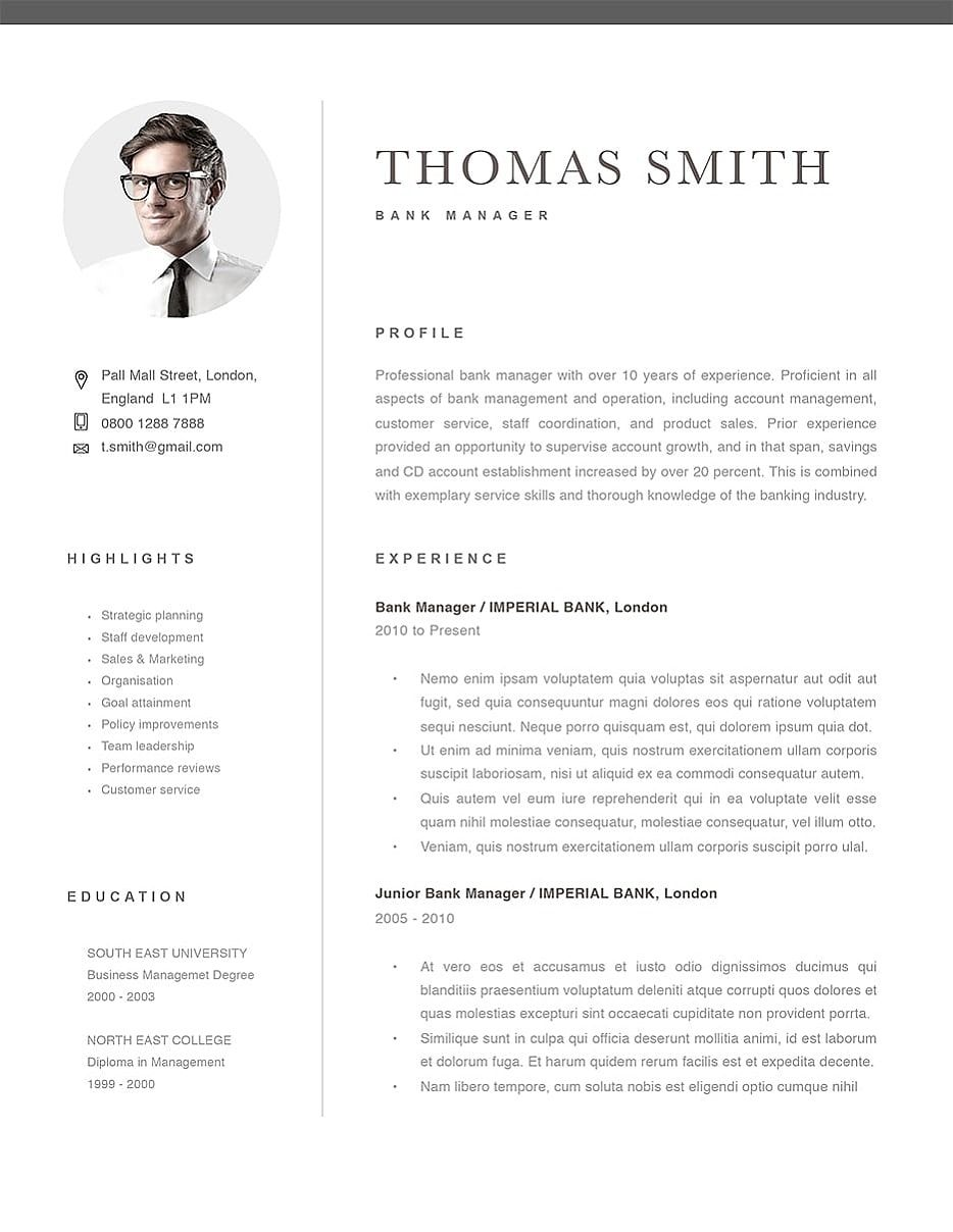 Classic Resume Template 120290