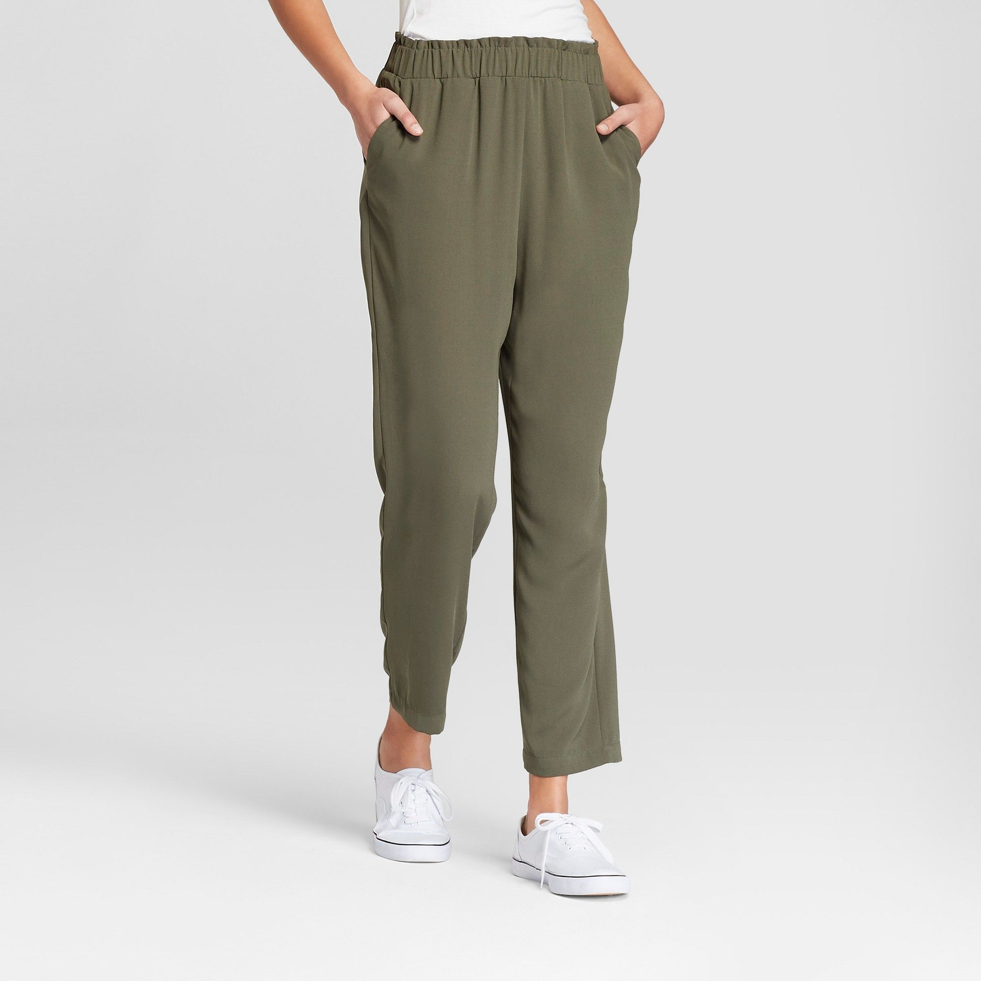 bf8d5d53154 Women s Crepe Paperbag Jogger Pants - A New Day Olive (Green) XL ...