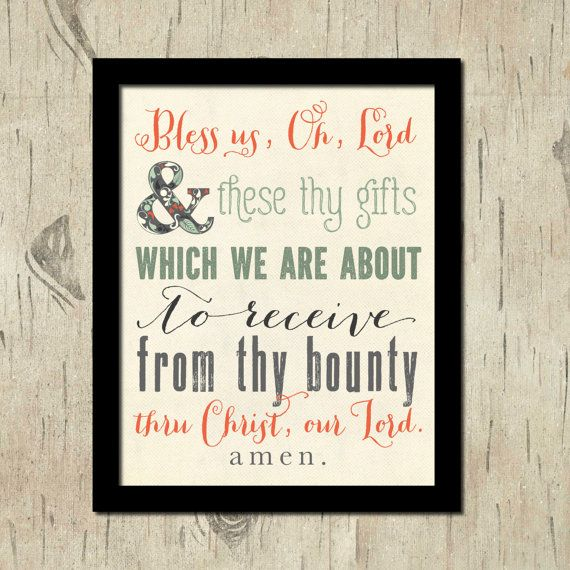 Kitchen Blessing Wall Decor: Printable Prayers And Kitchen Wall Art. Bless Us