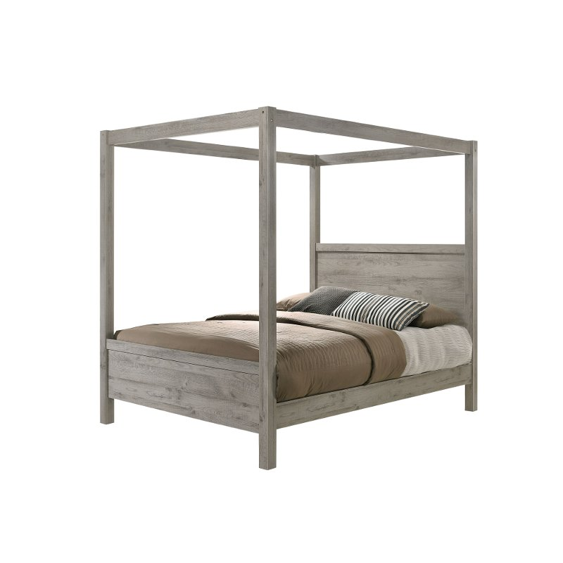 Modern Light Gray Twin Canopy Bed Alix In 2020 Queen Canopy