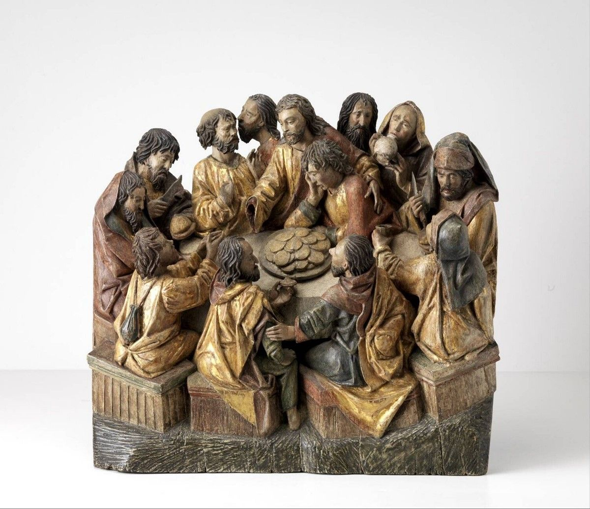 The last supper Sculptorn Adriaen van Wesel, Utrecht circa 1417 - Utrecht circa 1490 1417 - 1490 Dimensions 52 x 55 x 19,3 cm Material and technique oak-wood