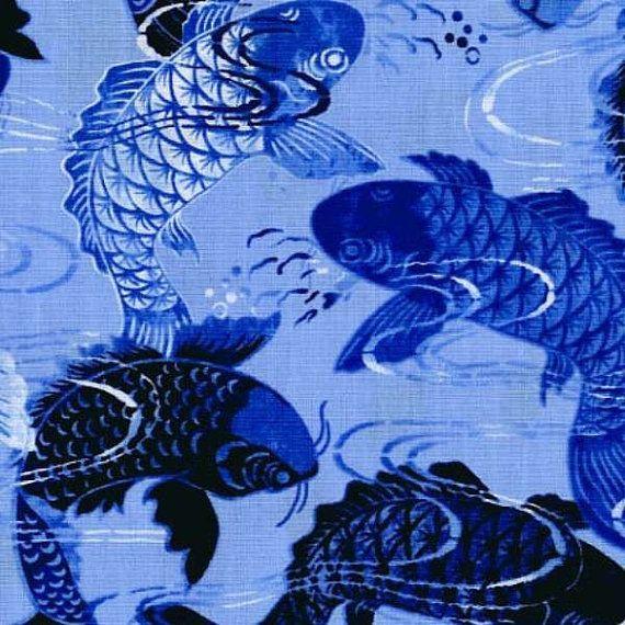 Lake blue koi fish 1yd koi fish and fish art for Koi fish print fabric