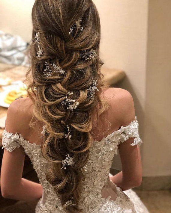 Kristall- und Perlenhaarrebe Extra lange Haarrebe Brauthaarrebe Hochzeitshaarrebe Kristallhaa…