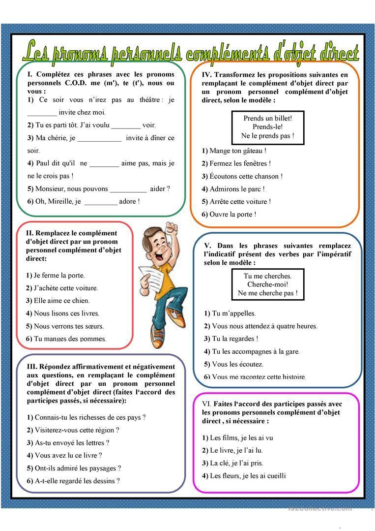 Les pronoms personnels compléments d'objet direct | Pronom ...