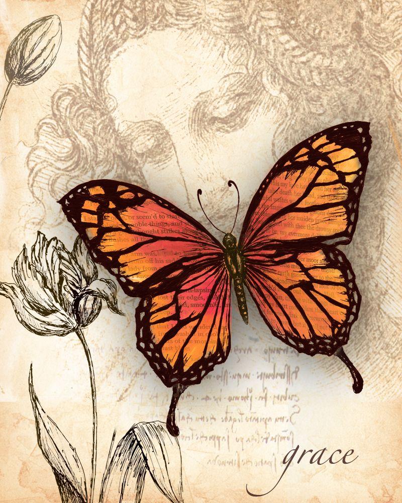 4 lose Servietten Napkins Schmetterling Butterfly Vintage yallow