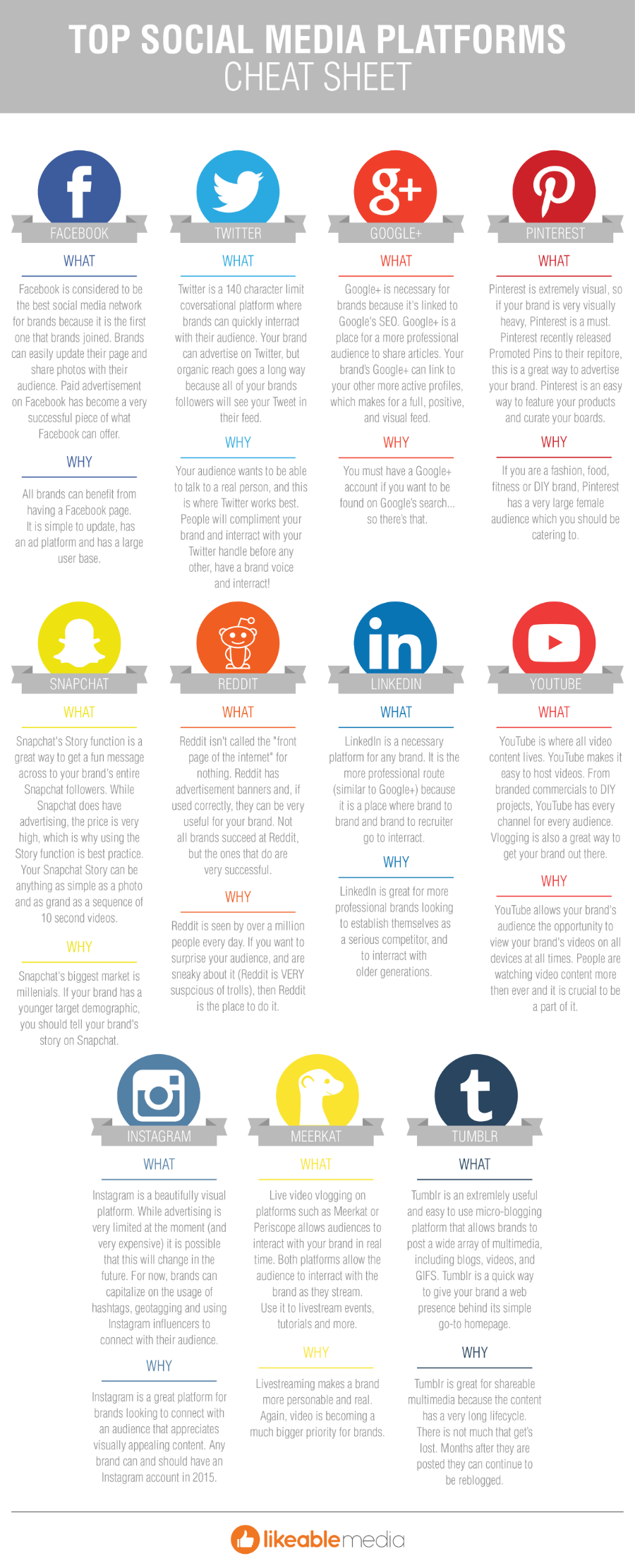 Top Social Media Platforms Cheat Sheet Infographic Likeable Social Media Strategy Template Social Media Measurement Social Media