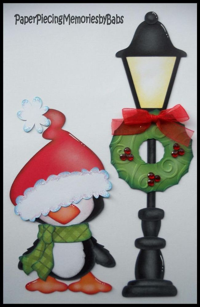 Premade paper pieced christmas penguin for scrapbook pages