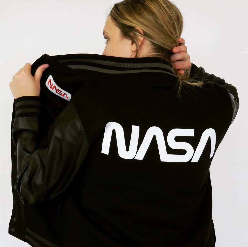 NASA WORM LOGO LEATHER SLEEVE BOMBER JACKET Leather