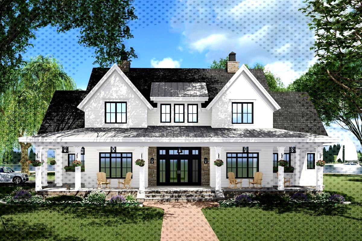 A 10'-deep front porch and a pair of French doors centered on the home greet you to this 3-bed mode