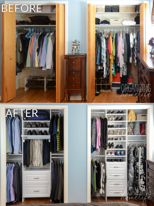 Master Bedroom Closet Makeover Before And After Organizing Closets Pinterest Master
