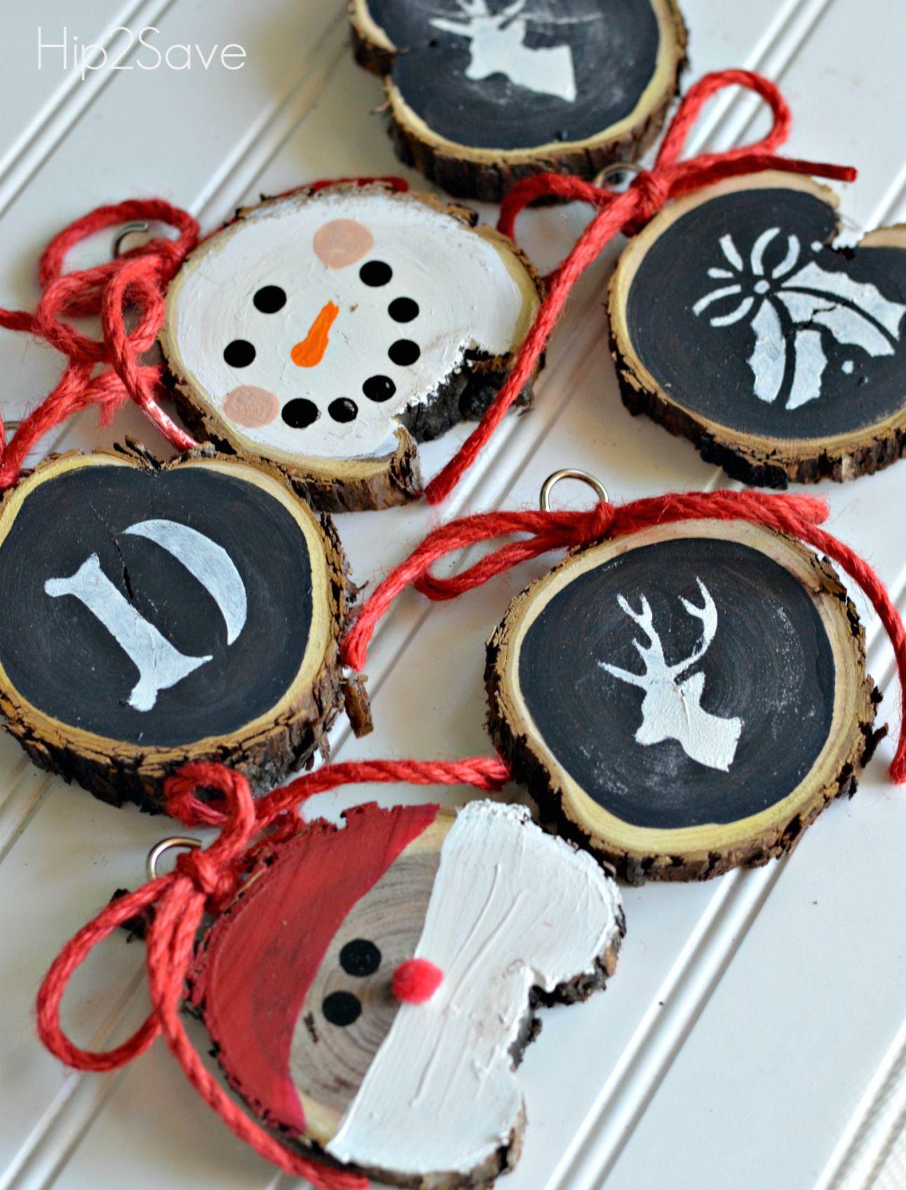 Diy sliced wood christmas ornaments homemade christmas ornaments