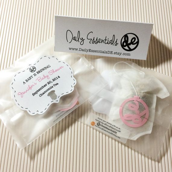 Personalized Baby Shower Party Event Favor Shaped Tea Bags