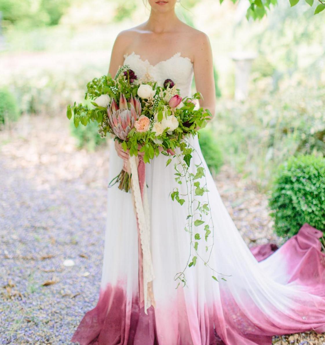 Wedding dress dip dyed in pink // Diy dye wedding gown trend ...