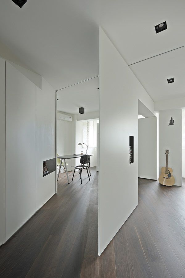 Astonishing Interior Design Partition Ideas divider enchanting wooden room divider wooden room partitions natural wood room divider storage living room Interior Design White Partition And Wood Laminate Floor Floating Space To Playing Guitar Music Tsao