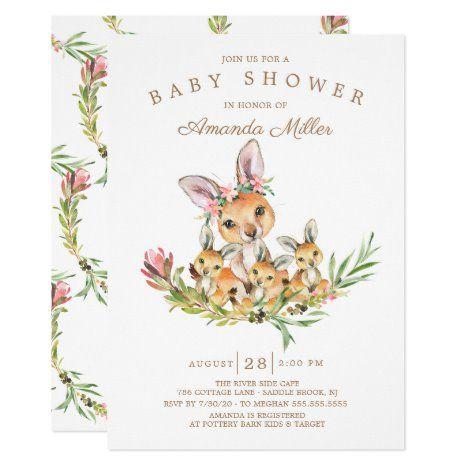 Adorable Kangaroo Mom & Babies Triplet Baby Shower