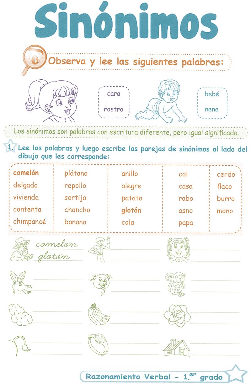 Sinónimos para niños 1° <b>Grado</b> Primaria | Razonamiento Verbal ...
