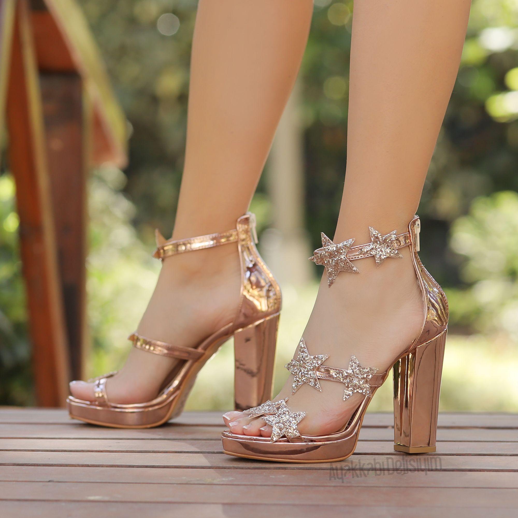 Yildizli Rose Topuklu Ayakkabi Simli Abiye Ayakkabi Rose Gold Ayakkabi Nisan Icin Ayakkabi 2020 Topuklular Topuklu Ayakkabilar Ayakkabilar