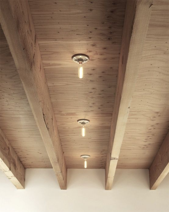 A quick (and inexpensive) way to add character to an otherwise austere space: plywood-faced ceilings. Here are five we like: