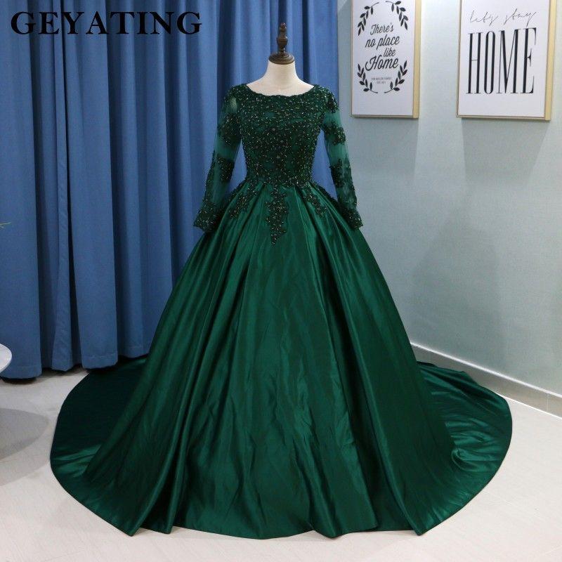 Emerald Green Lace Long Sleeves Muslim Wedding Dress 2018 Ball Gown  Princess Bride Dresses Islamic Satin Court Train Bridal Gown 9484585d430f