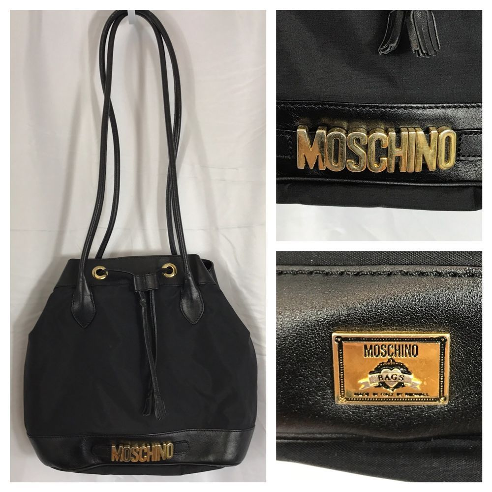 0d054a844d0 Vintage 90s MOSCHINO Italy Redwall Microfiber Leather Bucket Shoulder Black  Bag #Moschino #BucketBag
