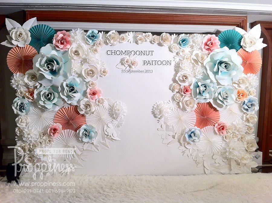 แต่งงาน รับทำ Backdrop ดอกไม้กระดาษ / inkjet by Proppiness - WeddingSquare