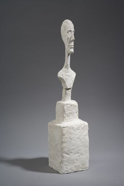 <p><strong>[Bust of a man on a double base], circa 1948-1949</strong><br />Plaster reworked with pocket-knife, 55 x 13 x 16 cm<br /><br /><em>Fondation Alberto et Annette Giacometti, Paris, inv. 1994-0271</em><br /><br />© Alberto Giacometti Estate (Fondation Giacometti, Paris + ADAGP, Paris)</p>