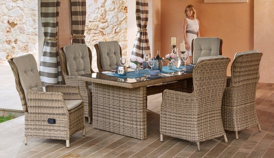 Merxx Gartenmobelset Riviera 13 Tlg 6 Hochlehner Tisch