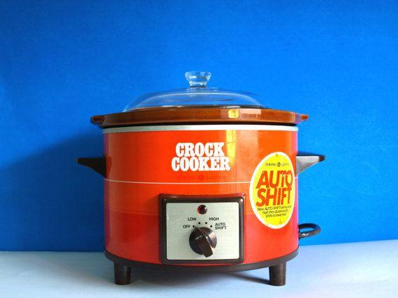 Retro Ge Orange Red Crock Pot