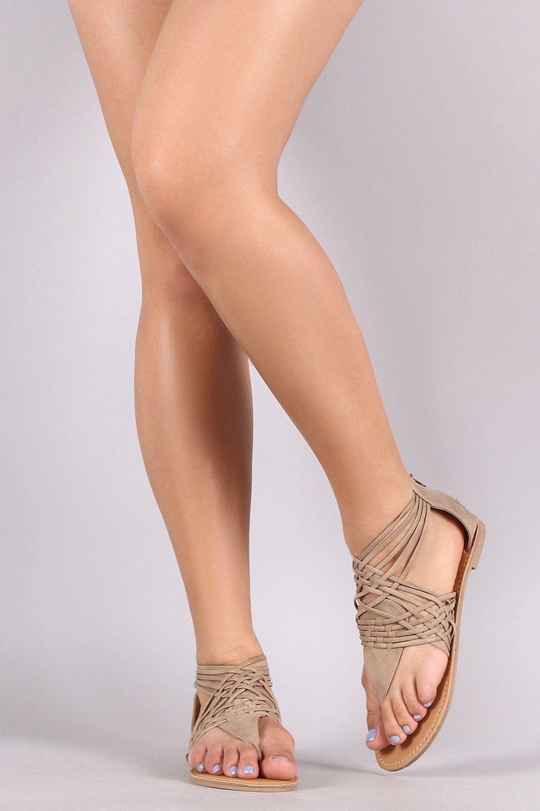 2d953bb1c0a Qupid Nubuck Woven Thong Flat Sandal