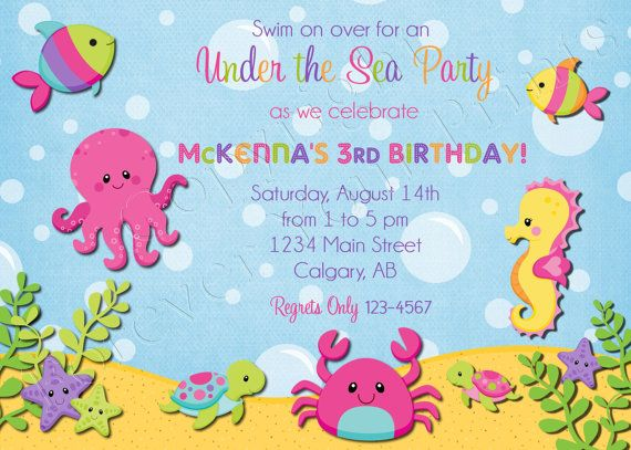 Under The Sea Birthday Invitation Includes By ForeverYourPrints 1500