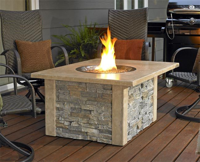 This Decorative Deck Table With Built In Gas Fire Pit