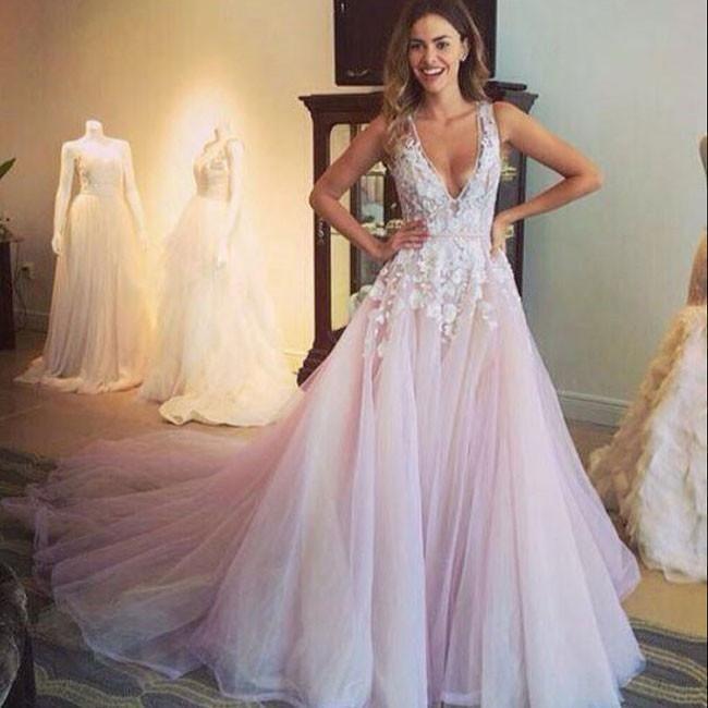 A Line V Neck Flower Liqued Light Pink Chapel Train Wedding Dress
