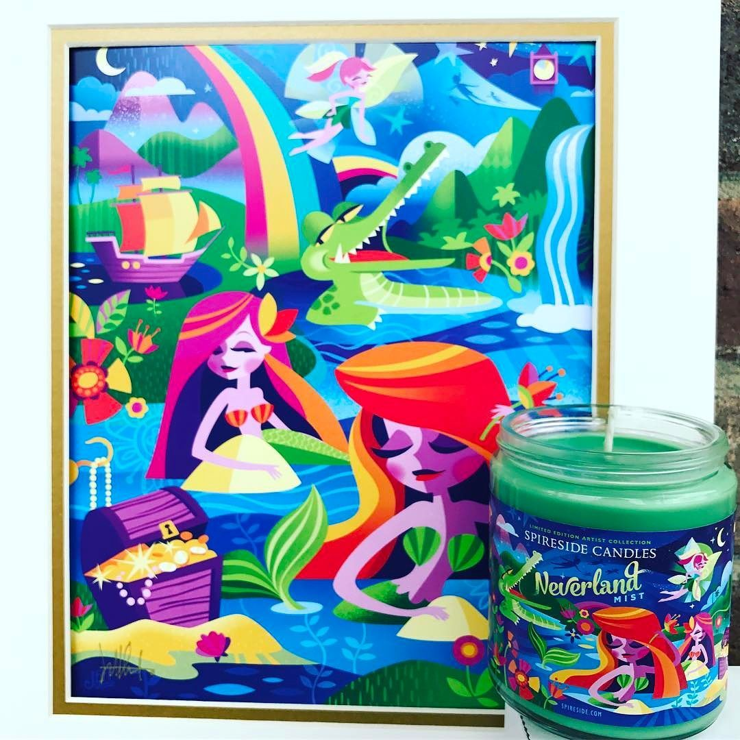 Introducing Neverland Mist!! Our latest collab with @jeffgranitodesigns brings the sights and scents of Neverland to life in a way you've never seen or smelled before! The candle is now available (link in our bio) and Jeff's print is available in his Etsy shop (link in his bio)!  Neverland Mist captures the tropical and magical environment that Peter Tink Wendy the Lost Boys Tiger Lily the Mermaids and even Captain Hook and the Croc experienced in Neverland: sweet island fruits mixed with…