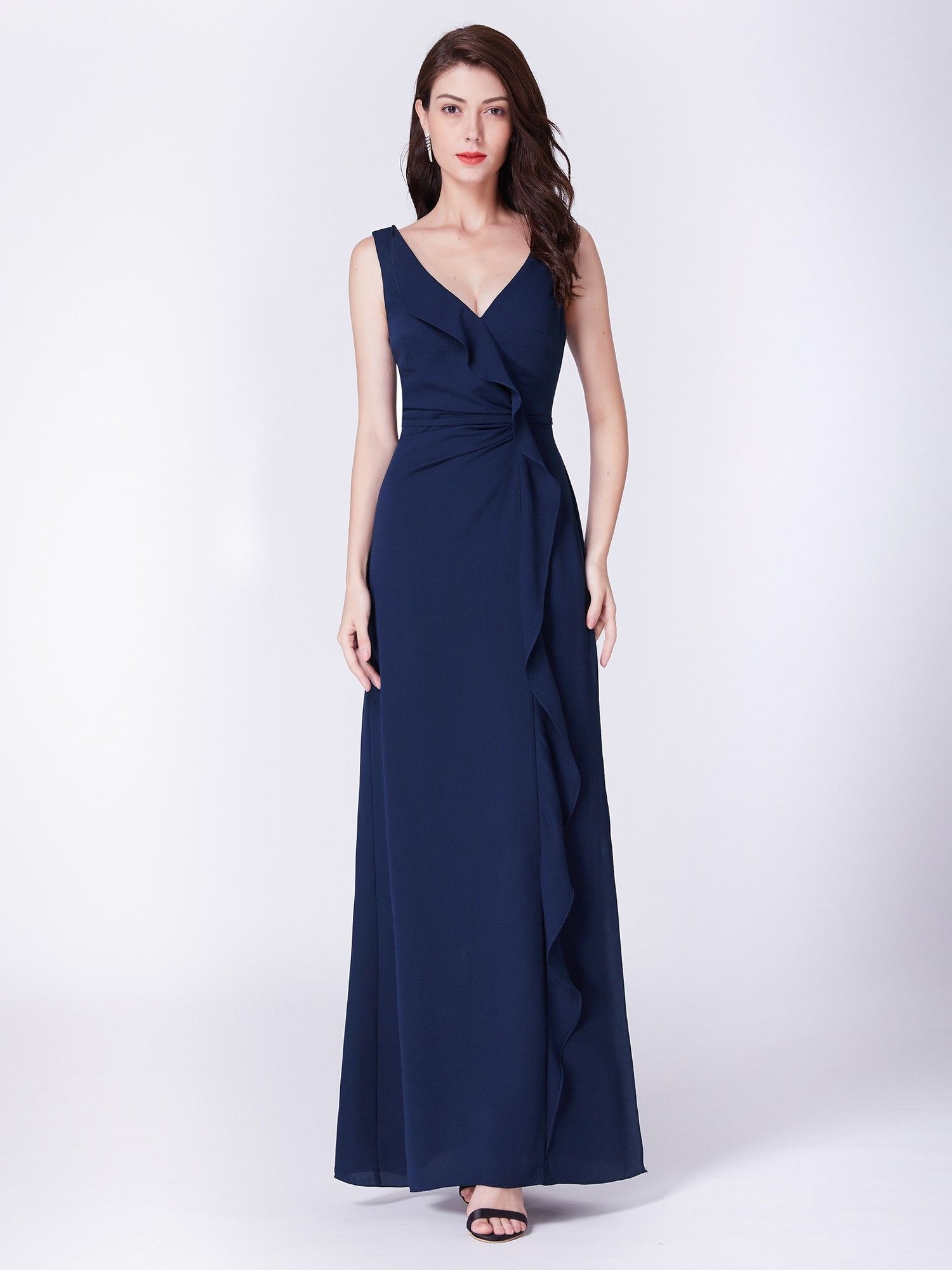 V neck floor length evening gown with ruffle in evening