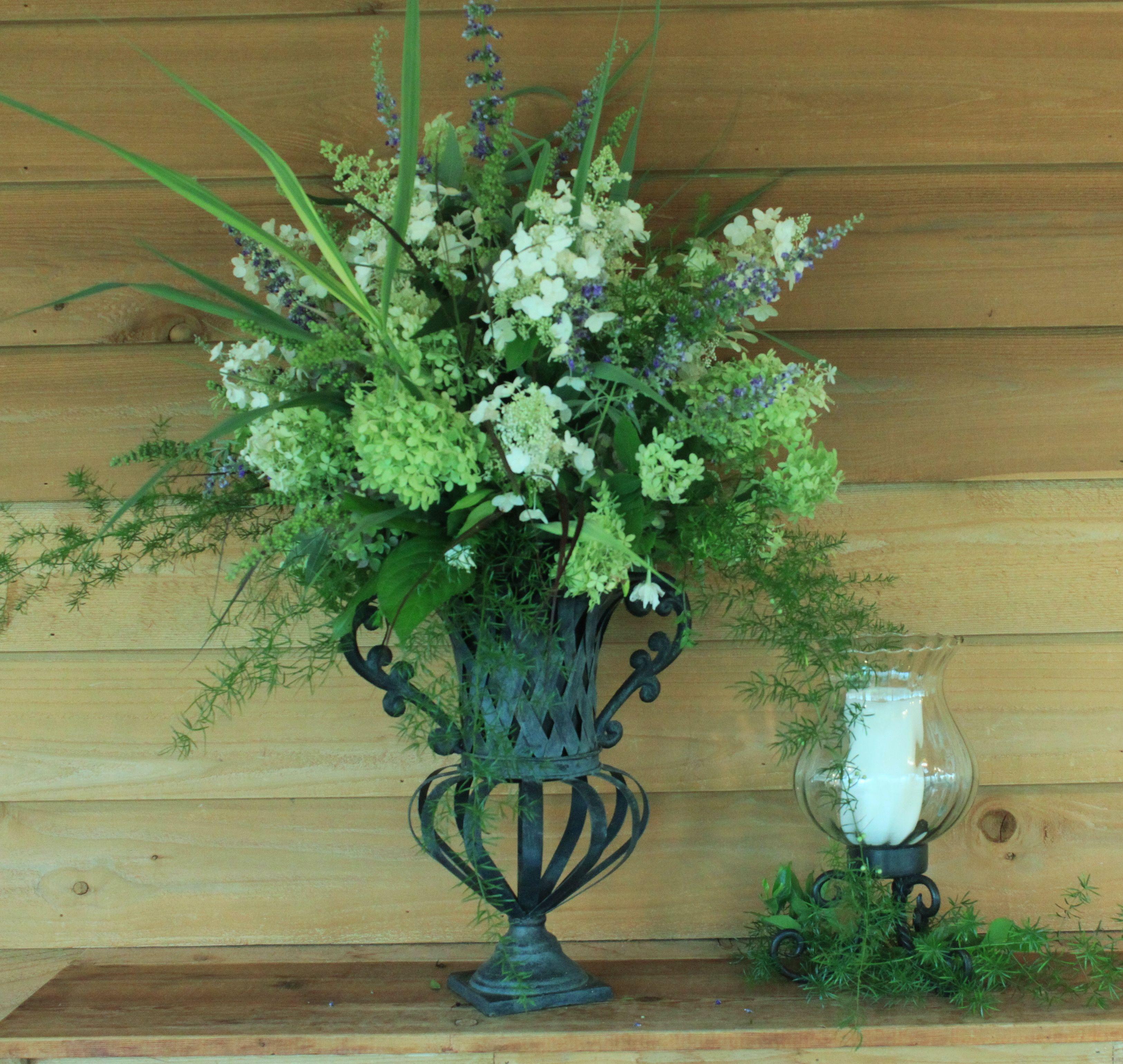 Arrangement from the august backyard limelight hydrangeas