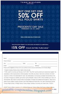 image regarding Tommy Hilfiger Printable Coupons called No cost Printable Tommy Hilfiger Coupon codes Totally free Printable