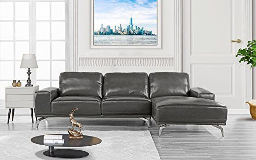 Divano Roma Furniture Modern Real Leather Sectional Sofa L Shape Couch W Chaise On Right Dark Grey Leathersectionalsofas