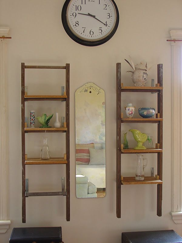 Shelves made out of old wooden ladders for the home for Old wooden ladder projects