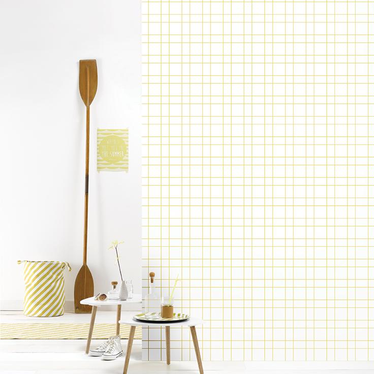 Roomblush behang wallpaper grid yellow behangpapier woonkamer ...